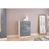 Product photograph showing Adalee White Grey 5 Drawer Chest