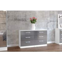 Product photograph showing Adalee White Grey 6 Drawer Chest