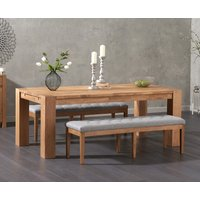 Madrid 200cm Solid Oak Dining Table with Camille Grey Fabric Benches