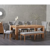 Product photograph showing Madrid 200cm Solid Oak Dining Table With Camille Fabric Chairs And Camille Grey Fabric Bench