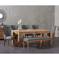 Madrid 200cm Solid Oak Table with Camille Faux Leather Chairs and Camille Faux Leather Bench - Grey, 2 Chairs