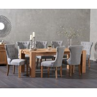 Madrid 200cm Solid Oak Dining Table with Camille Fabric Chairs