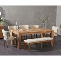 Madrid 200cm Solid Oak Dining Table with Isobel Fabric Chairs and Camille Cream Fabric Bench - Grey, 2 Chairs