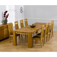 Madrid 300cm Solid Oak Dining Table with Monaco Chairs - Brown, 8 Chairs