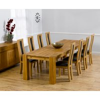 Product photograph showing Madrid 300cm Solid Oak Dining Table With Toronto Chairs - Brown 8 Chairs