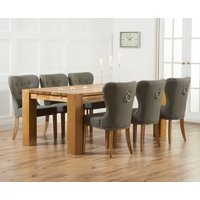 Product photograph showing Madrid 300cm Solid Oak Dining Table With Knightsbridge Fabric Chairs - Grey 8 Chairs