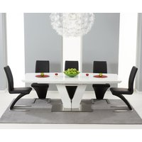 Read more about Malaga 180cm white high gloss extending dining table with hampstead z chairs