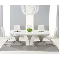 Product photograph showing Ex-display Malaga 180cm White High Gloss Extending Dining Table With 6 White Hampstead Z Chairs
