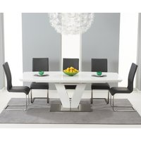 Malaga 180cm White High Gloss Extending Dining Table with Malaga Chairs
