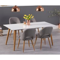 Malmo 180cm Matt White Dining Table with Halifax Fabric Wooden Leg Chairs - Grey, 4 Chairs