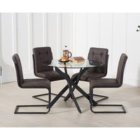 Mara 100cm Round Glass Dining Table with Alexa Dining Chairs - Brown, 4 Chairs