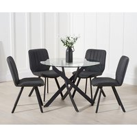 Mara 100cm Round Glass Dining Table with Dexter Faux Leather Chairs