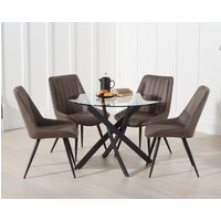 Mara 100cm Round Glass Dining Table with Marcel Antique Chairs