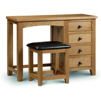 Read more about Minnesota oak single pedestal dressing table and leather stool