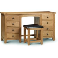 Product photograph showing Minnesota Oak Twin Pedestal Dressing Table And Leather Stool