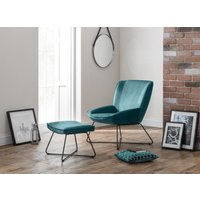 Read more about Milly teal velvet accent chair and stool