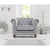 Ex-Display Milano Chesterfield Grey Plush Armchair