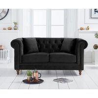 Product photograph showing Ex-display Milano Chesterfield Black Velvet 2 Seater Sofa