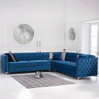 Mistral Blue Velvet Corner Sofa