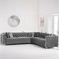 Mistral Grey Velvet Corner Sofa