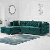 Mistral Left Facing Green Velvet 4 Seater Corner Chaise Sofa