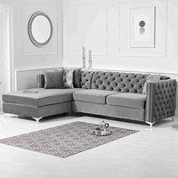 Mistral Left Facing Grey Velvet 4 Seater Corner Chaise Sofa