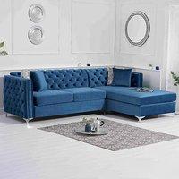 Mistral Right Facing Blue Velvet 4 Seater Corner Chaise Sofa