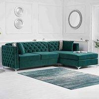 Mistral Right Facing Green Velvet 4 Seater Corner Chaise Sofa