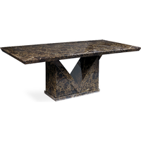Product photograph showing Mocha 220cm Marble Effect Dining Table