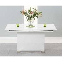 Product photograph showing Ex-display Modena 150cm White High Gloss Extending Dining Table