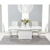 Product photograph showing Ex-display Modena 150cm White High Gloss Extending Dining Table With4 White Malaga Chairs