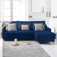 Monica Blue Velvet Right Hand Facing Corner Sofa Bed
