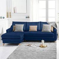 Monica Blue Velvet Left Hand Facing Corner Sofa Bed