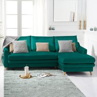 Monica Green Velvet Right Hand Facing Corner Sofa Bed
