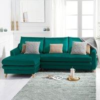 Monica Green Velvet Left Hand Facing Corner Sofa Bed