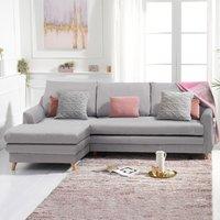 Monica Grey Linen Left Hand Facing Corner Sofa Bed