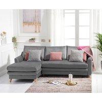 Monica Grey Velvet Reversible Left Hand Facing Corner Sofa Bed