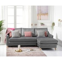 Monica Grey Velvet Reversible Right Hand Facing Corner Sofa Bed