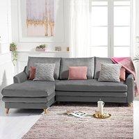 Monica Grey Velvet Left Hand Facing Corner Sofa Bed