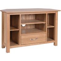 Product photograph showing Novel Oak Corner Tv Unit
