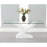 Product photograph showing Nevada 180cm White High Gloss And Glass Dining Table