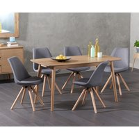 Nordic 150cm Oak Dining Table with Oscar Fabric Round Leg Chairs