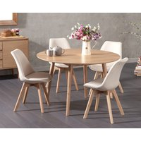 Nordic 120cm Round Oak Dining Table with Duke Fabric Chairs