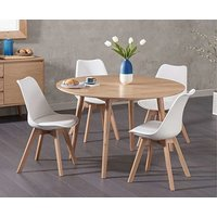 Ex-display Nordic 120cm Round Oak Dining Table with 4 WHITE Duke Faux Leather Chairs