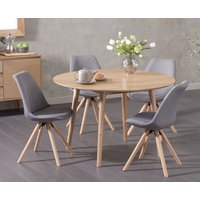 Nordic 120cm Round Oak Dining Table with Oscar Fabric Round Leg Chairs