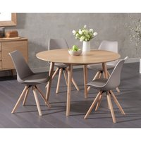 Nordic 120cm Round Oak Dining Table with Oscar Faux Leather Round Leg Chairs