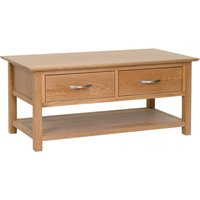 Product photograph showing Novel Oak Coffee Table With Drawers