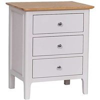 Product photograph showing Ex-display Daniella Oak And Grey Extra Large 3 Drawer Bedside Table