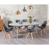Olivia Extending Light Grey High Gloss Dining Table with Oscar Faux Leather Round Leg Chairs - Light Grey, 4 Chairs