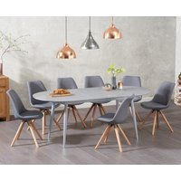 Olivia Extending Light Grey High Gloss Dining Table with Oscar Fabric Round Leg Chairs - Light Grey, 4 Chairs